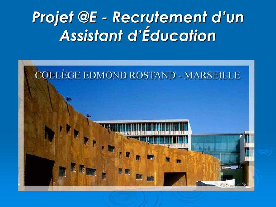 Projet @E - Recrutement d'un Assistant d'Éducation