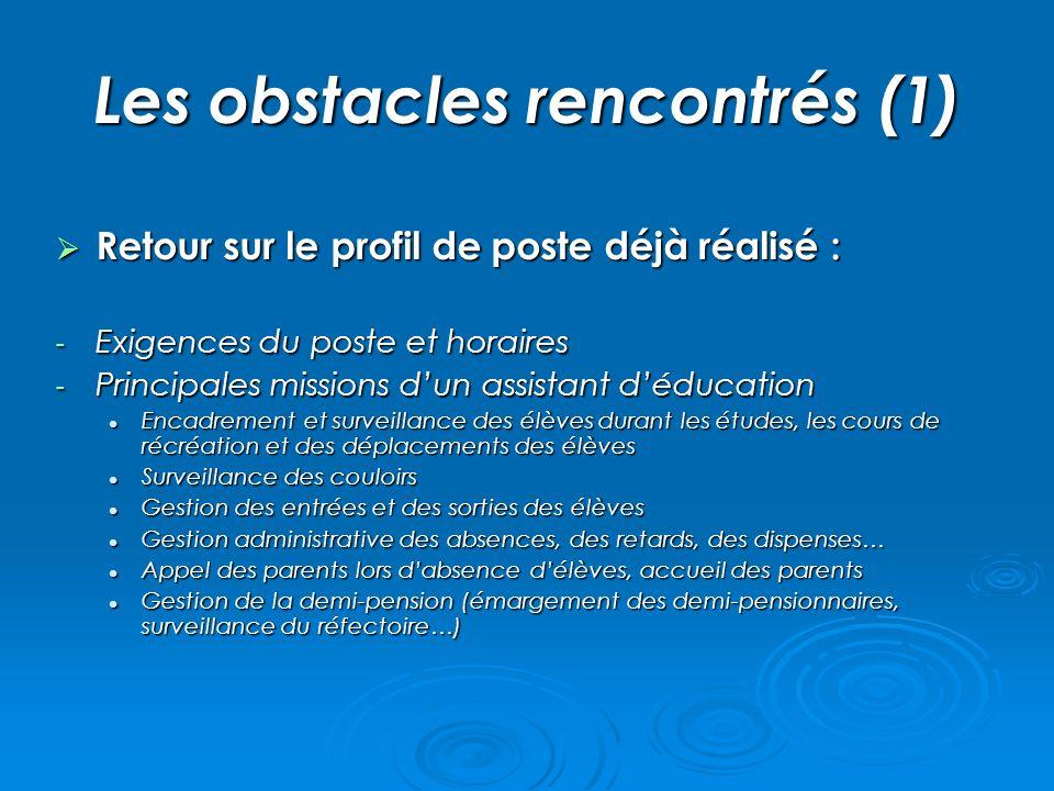 Les obstacles rencontrés (1)