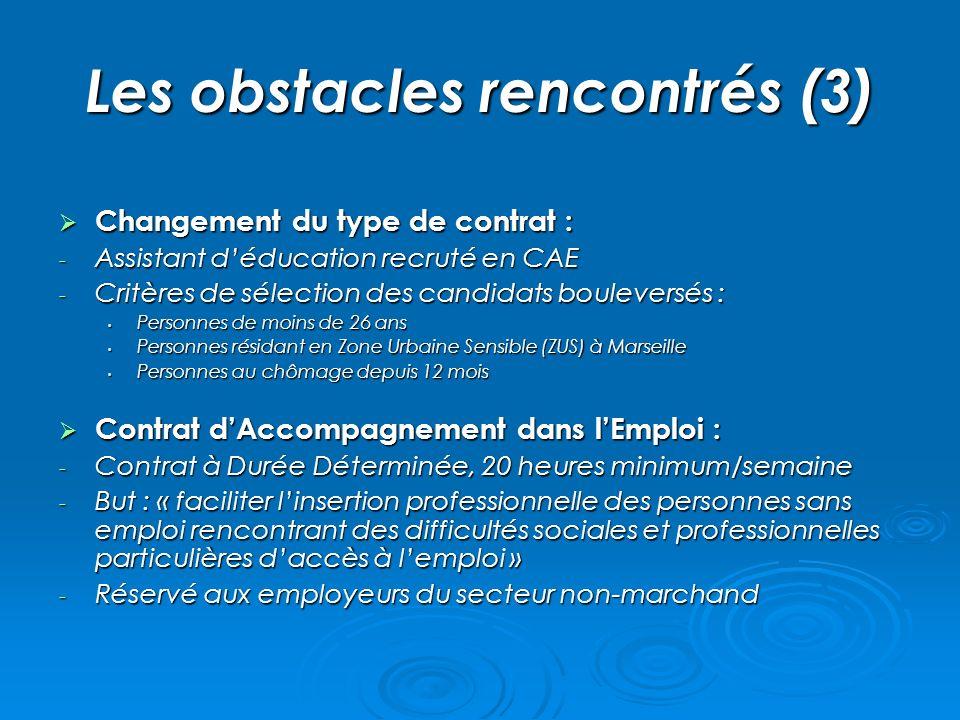 Les obstacles rencontrés (3)