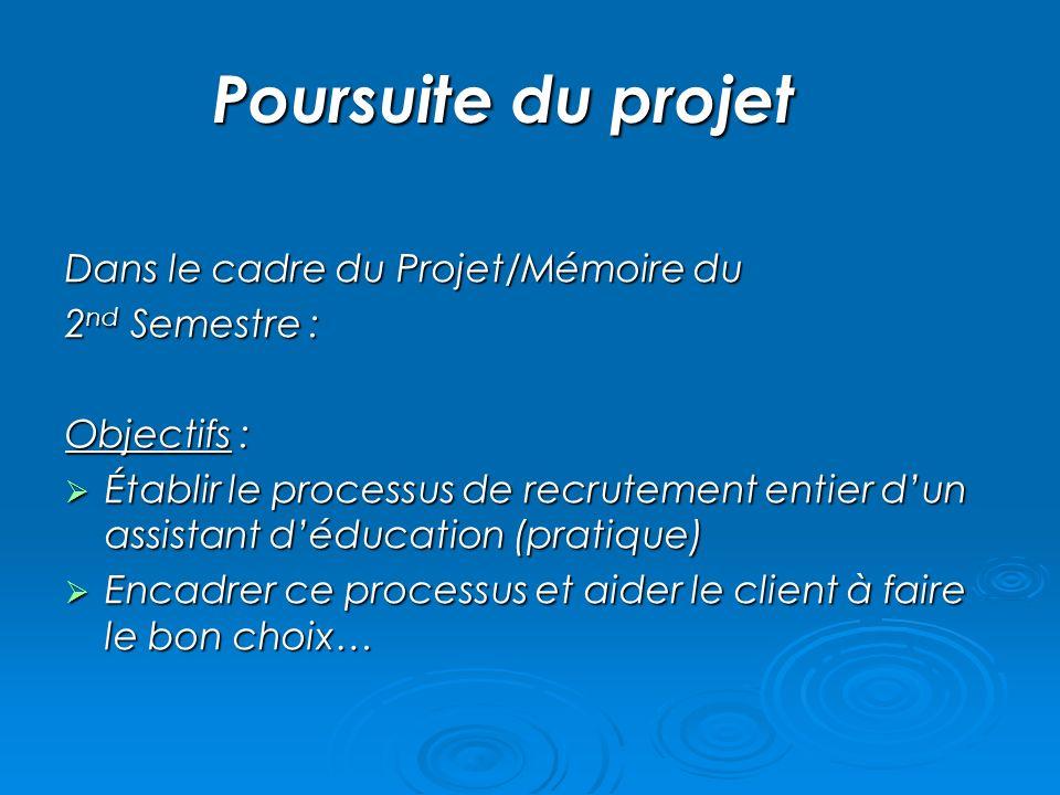Poursuite du projet Dans le cadre du Projet/Mémoire du 2nd Semestre :