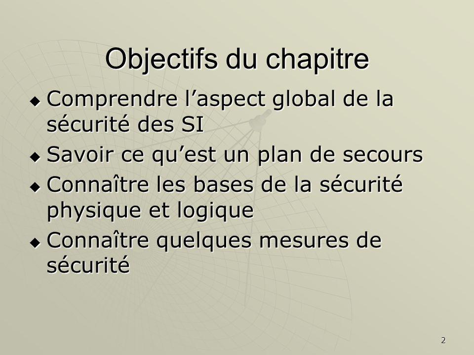 Objectifs du chapitre Comprendre l'aspect global de la sécurité des SI