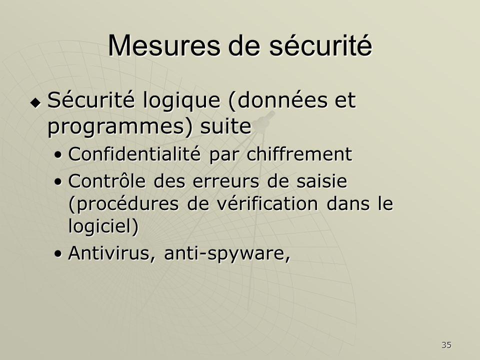 Mesures de sécurité Sécurité logique (données et programmes) suite