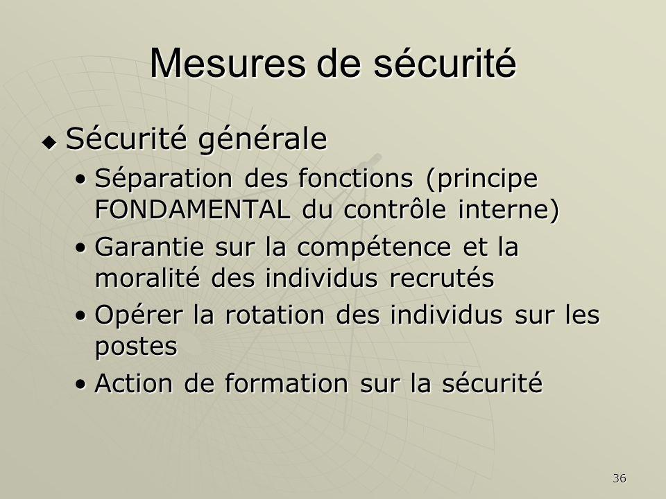 Mesures de sécurité Sécurité générale