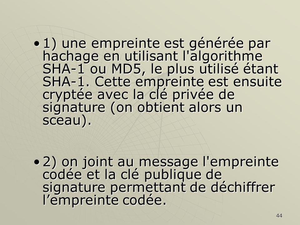 1) une empreinte est générée par hachage en utilisant l algorithme SHA-1 ou MD5, le plus utilisé étant SHA-1. Cette empreinte est ensuite cryptée avec la clé privée de signature (on obtient alors un sceau).