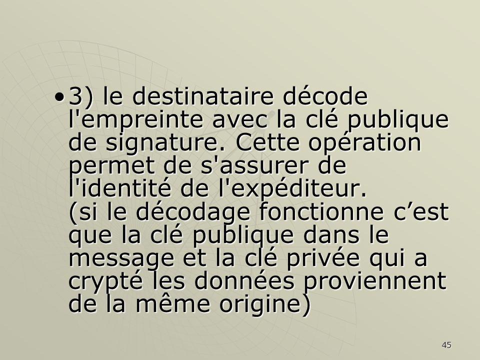 3) le destinataire décode l empreinte avec la clé publique de signature.