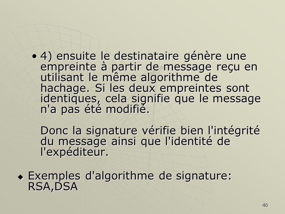4) ensuite le destinataire génère une empreinte à partir de message reçu en utilisant le même algorithme de hachage. Si les deux empreintes sont identiques, cela signifie que le message n a pas été modifié. Donc la signature vérifie bien l intégrité du message ainsi que l identité de l expéditeur.