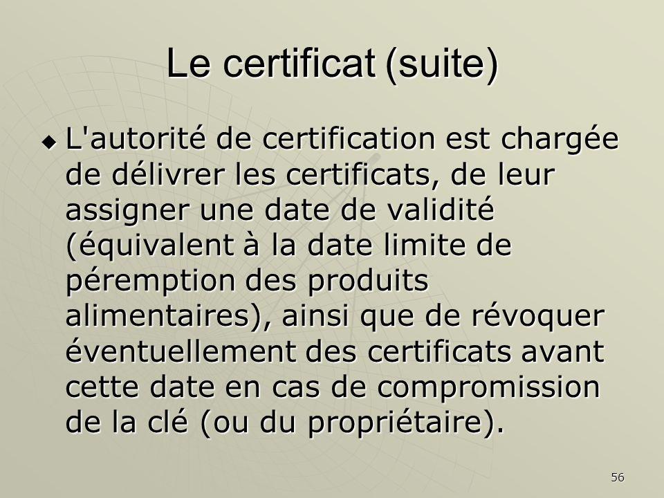 Le certificat (suite)