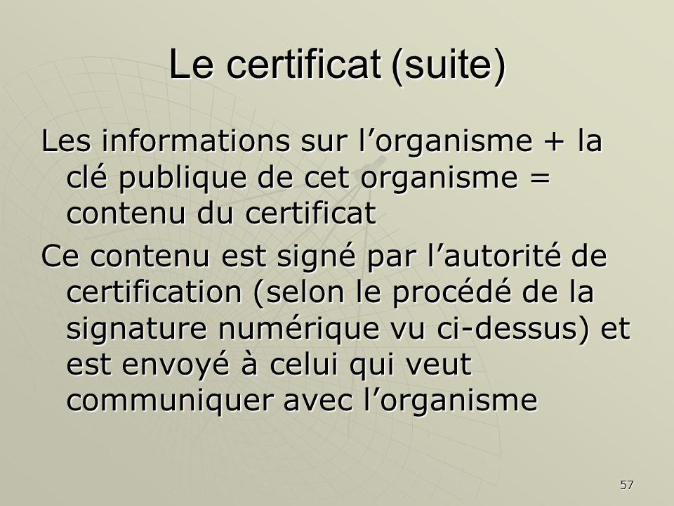Le certificat (suite) Les informations sur l'organisme + la clé publique de cet organisme = contenu du certificat.