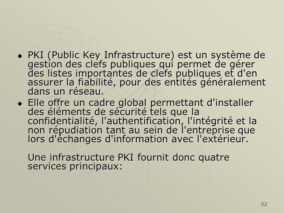 PKI (Public Key Infrastructure) est un système de gestion des clefs publiques qui permet de gérer des listes importantes de clefs publiques et d en assurer la fiabilité, pour des entités généralement dans un réseau.