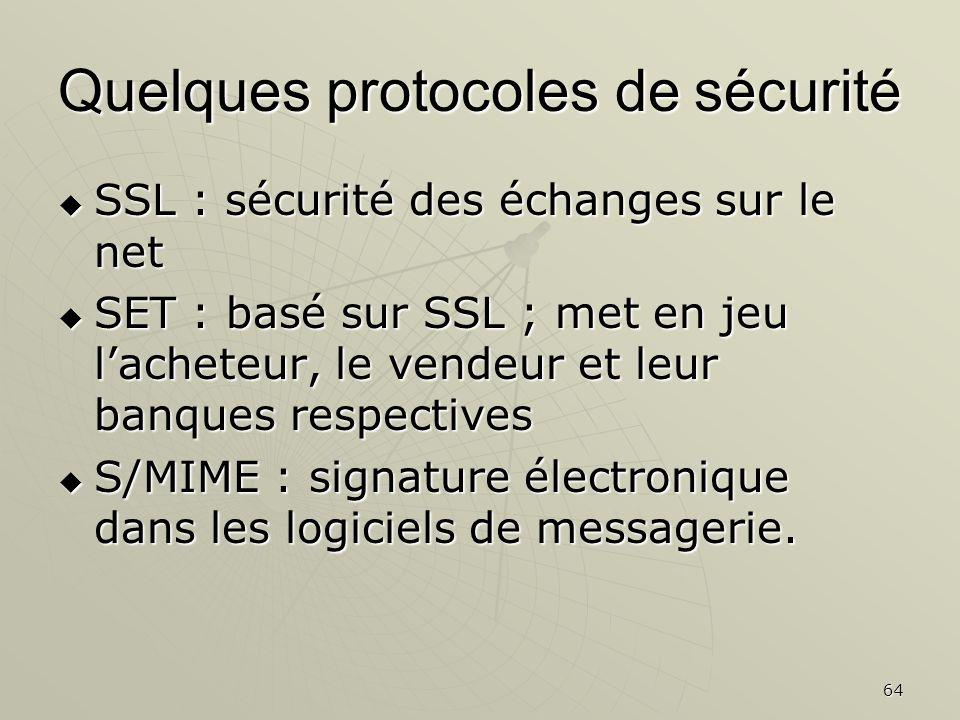 Quelques protocoles de sécurité