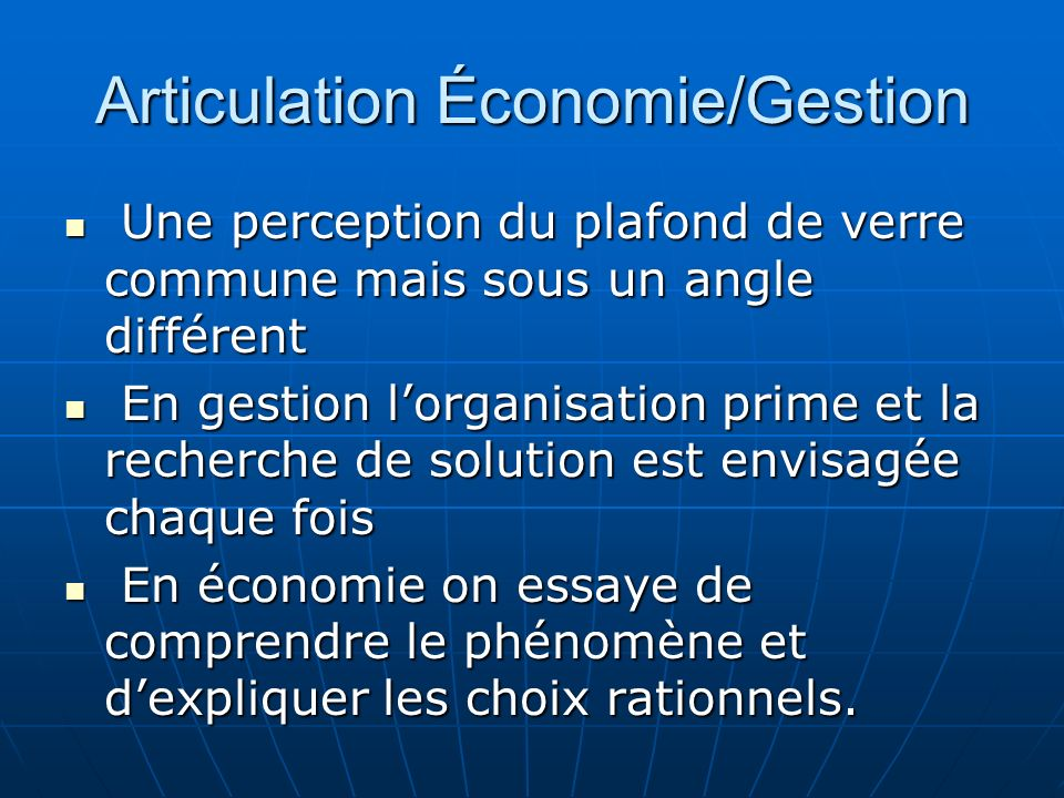 Articulation Économie/Gestion