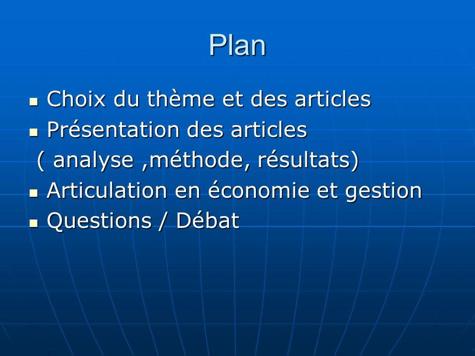Plan Choix du thème et des articles Présentation des articles