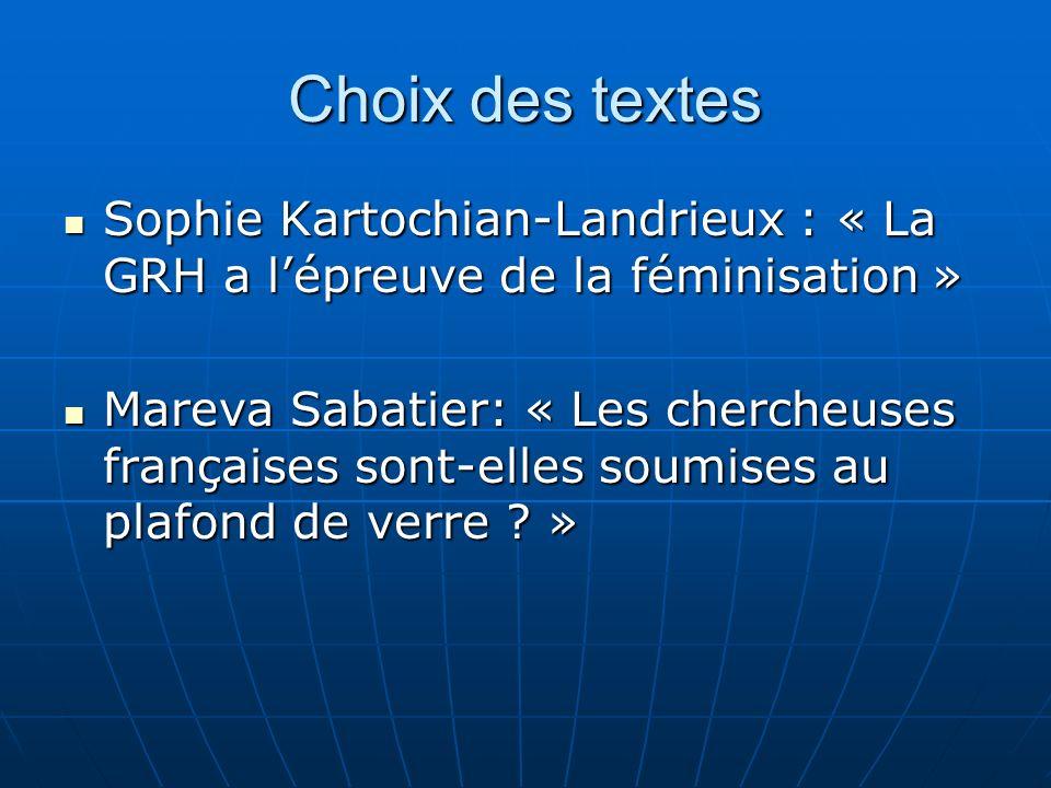 Choix des textes Sophie Kartochian-Landrieux : « La GRH a l'épreuve de la féminisation »