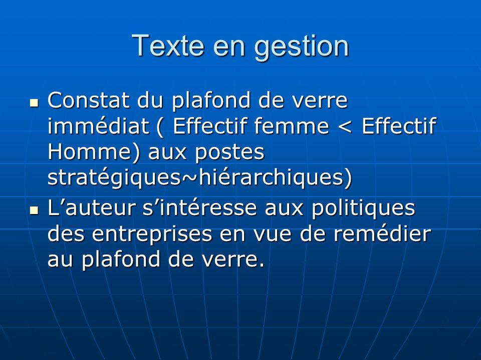 Texte en gestion Constat du plafond de verre immédiat ( Effectif femme < Effectif Homme) aux postes stratégiques~hiérarchiques)