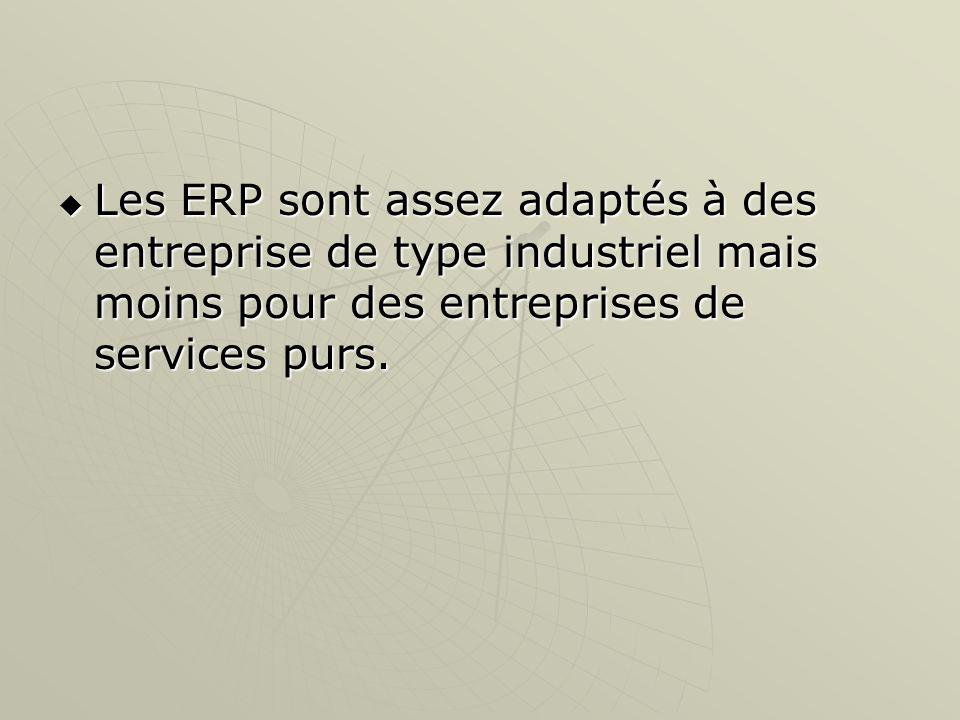 Les ERP sont assez adaptés à des entreprise de type industriel mais moins pour des entreprises de services purs.