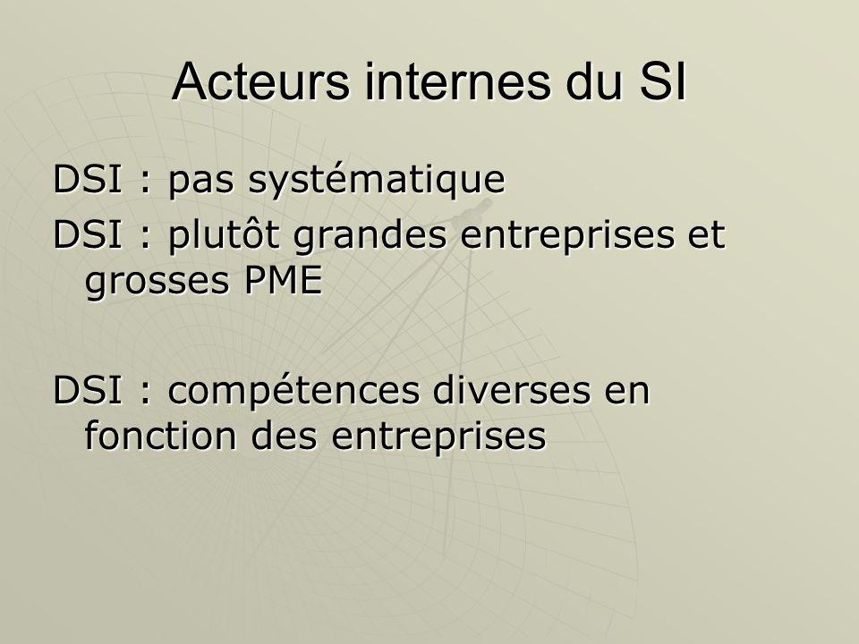 Acteurs internes du SI DSI : pas systématique