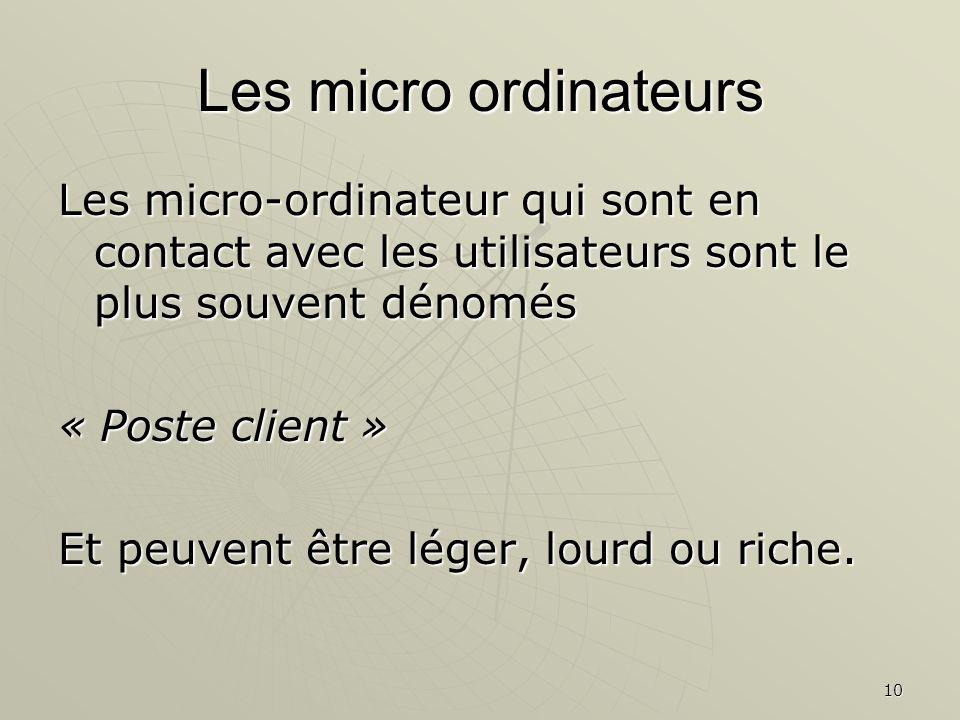 Les micro ordinateurs Les micro-ordinateur qui sont en contact avec les utilisateurs sont le plus souvent dénomés.