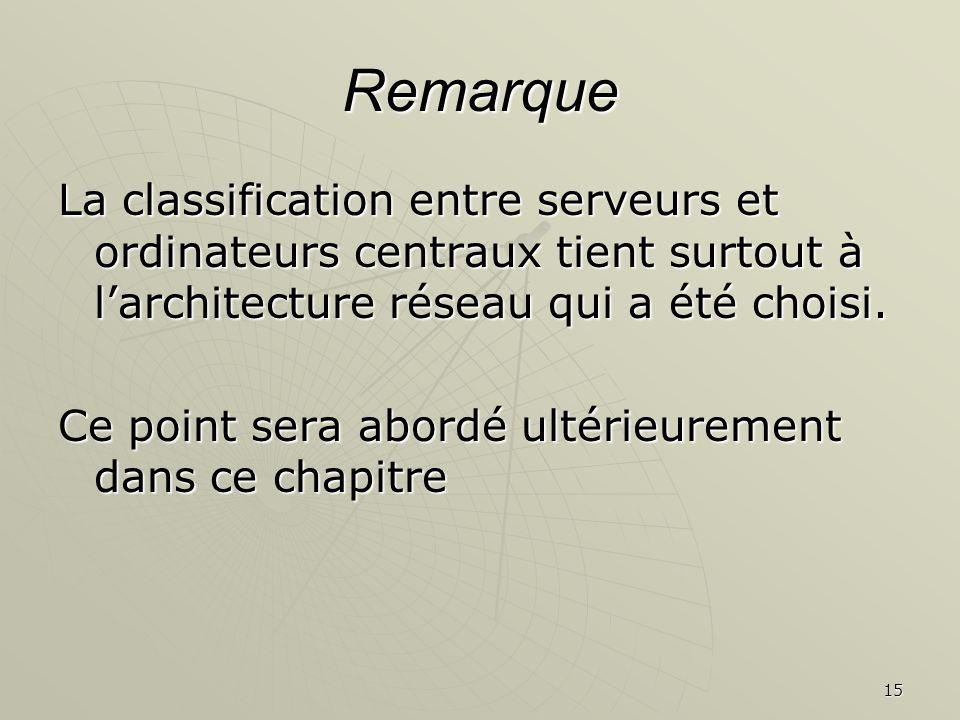 Remarque La classification entre serveurs et ordinateurs centraux tient surtout à l'architecture réseau qui a été choisi.