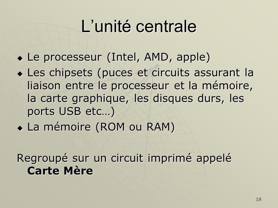 L'unité centrale Le processeur (Intel, AMD, apple)