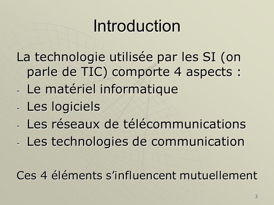 Introduction La technologie utilisée par les SI (on parle de TIC) comporte 4 aspects : Le matériel informatique.