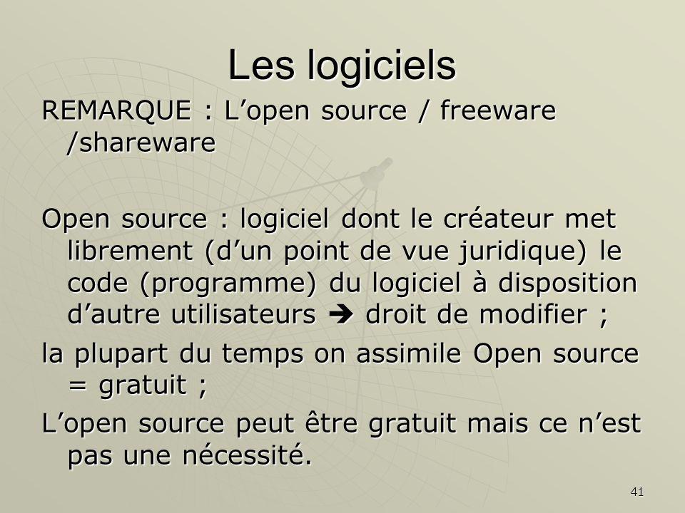 Les logiciels REMARQUE : L'open source / freeware /shareware