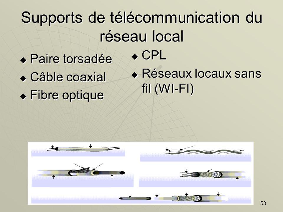 Supports de télécommunication du réseau local