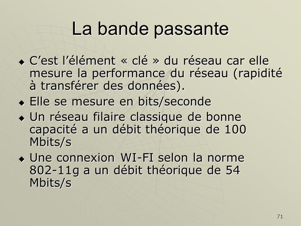 La bande passante C'est l'élément « clé » du réseau car elle mesure la performance du réseau (rapidité à transférer des données).