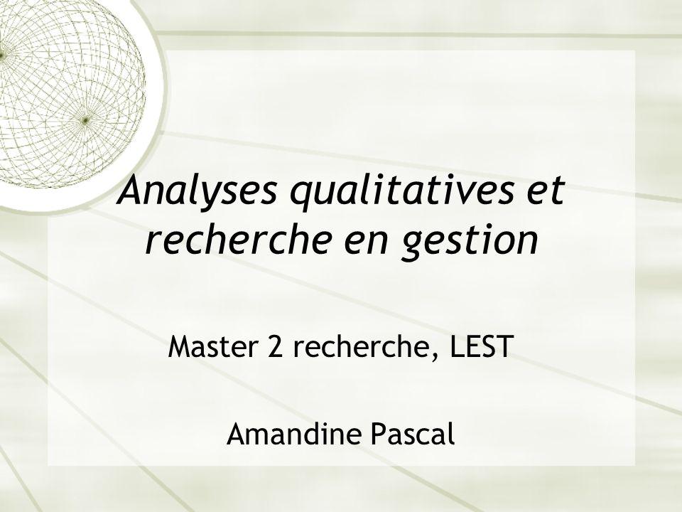 Analyses qualitatives et recherche en gestion
