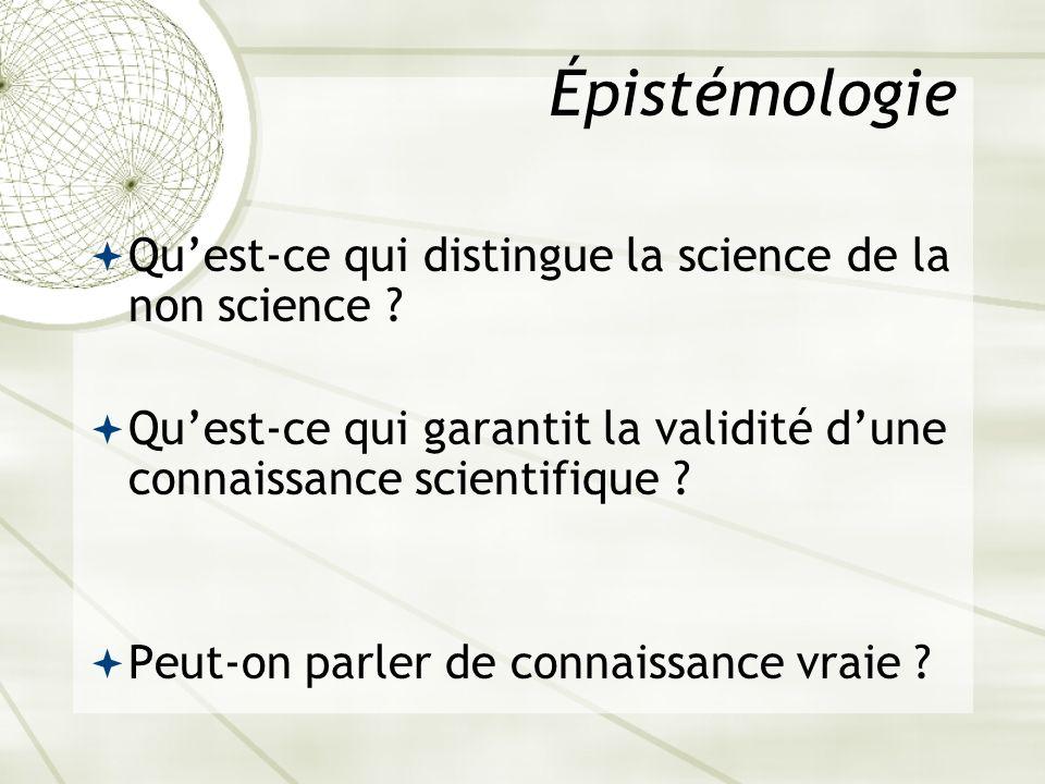 Épistémologie Qu'est-ce qui distingue la science de la non science