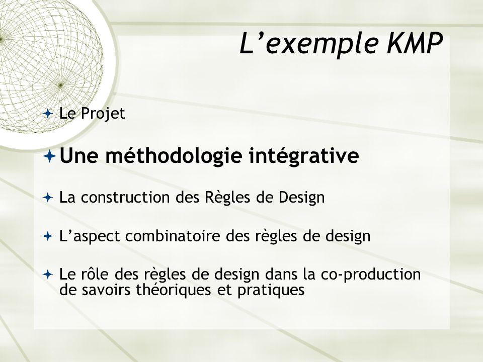 L'exemple KMP Une méthodologie intégrative Le Projet