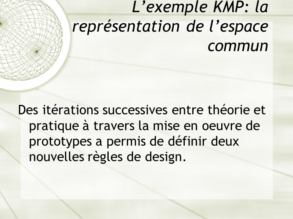 L'exemple KMP: la représentation de l'espace commun