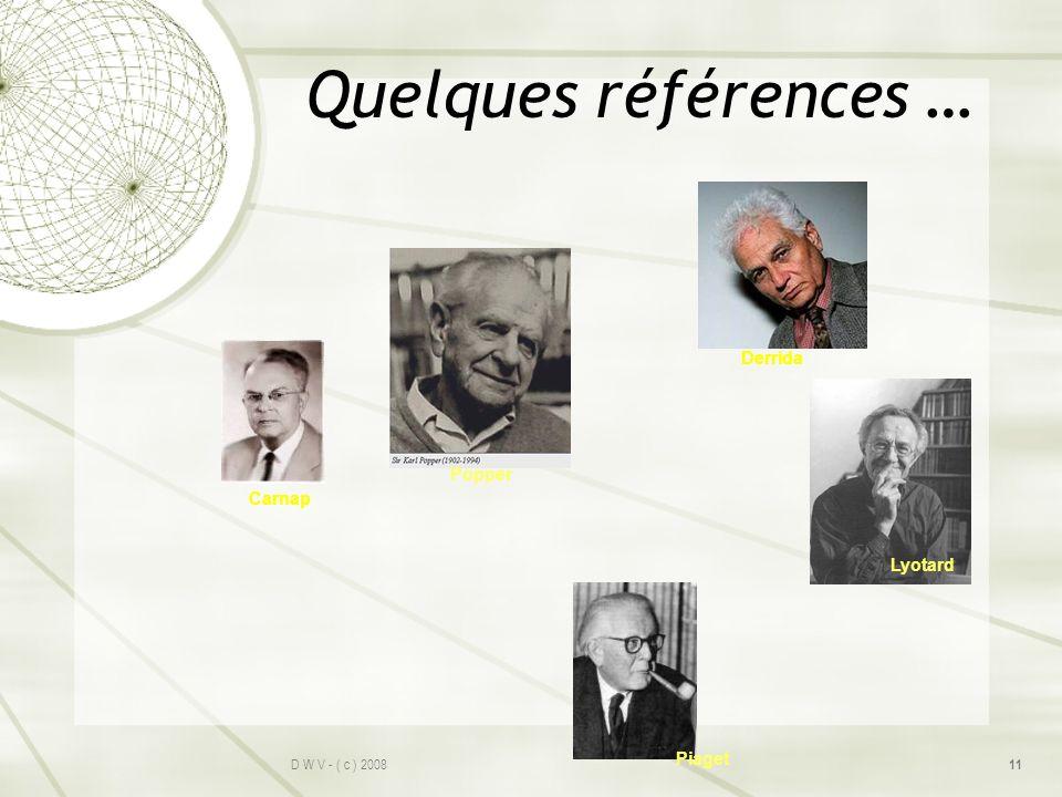Quelques références … Derrida Popper Carnap Lyotard Piaget