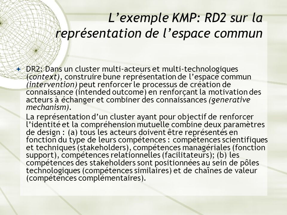 L'exemple KMP: RD2 sur la représentation de l'espace commun