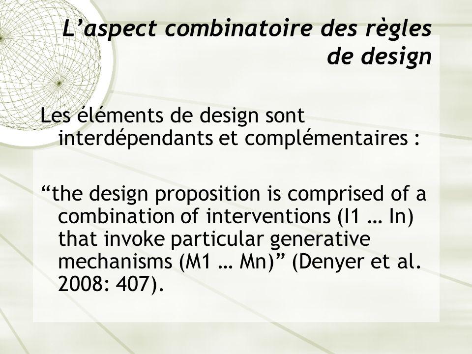 L'aspect combinatoire des règles de design