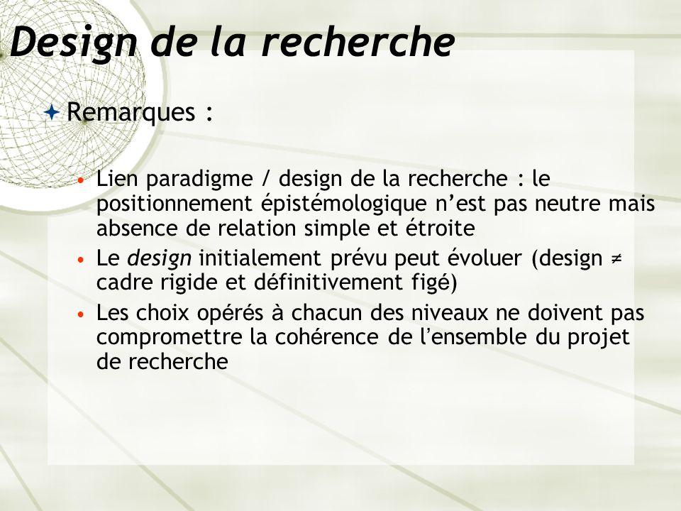 Design de la recherche Remarques :