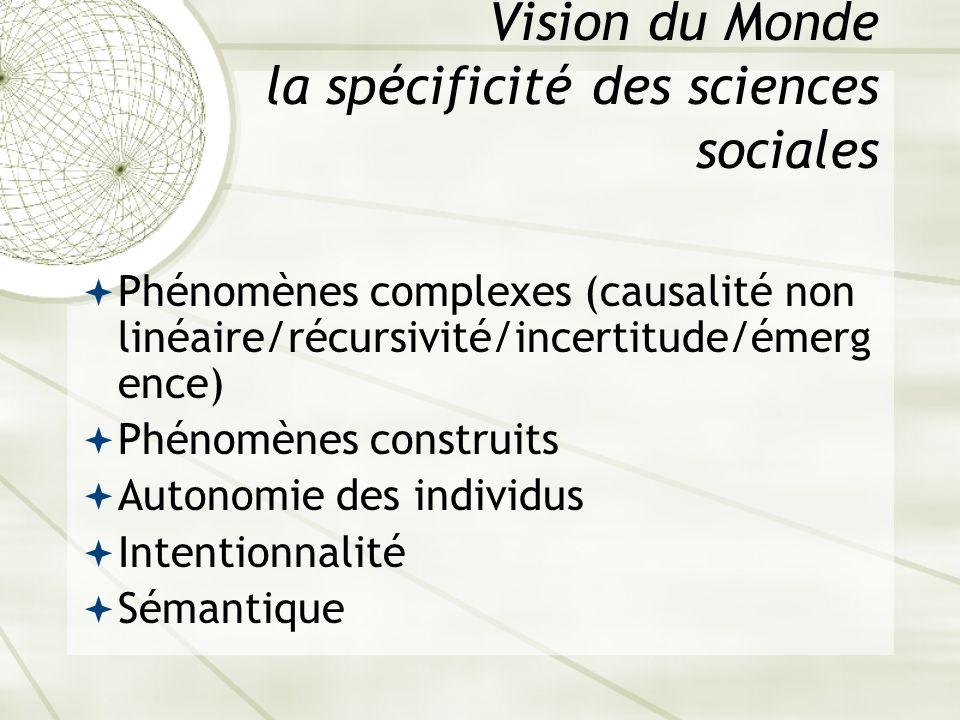 Vision du Monde la spécificité des sciences sociales