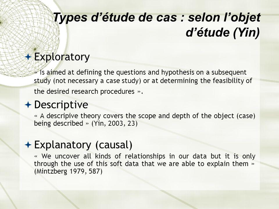 Types d'étude de cas : selon l'objet d'étude (Yin)