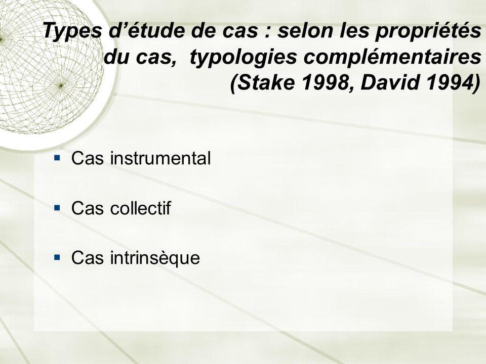 Types d'étude de cas : selon les propriétés du cas, typologies complémentaires