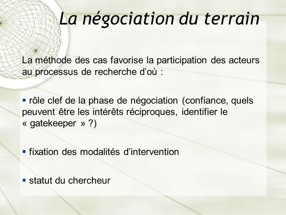 La négociation du terrain