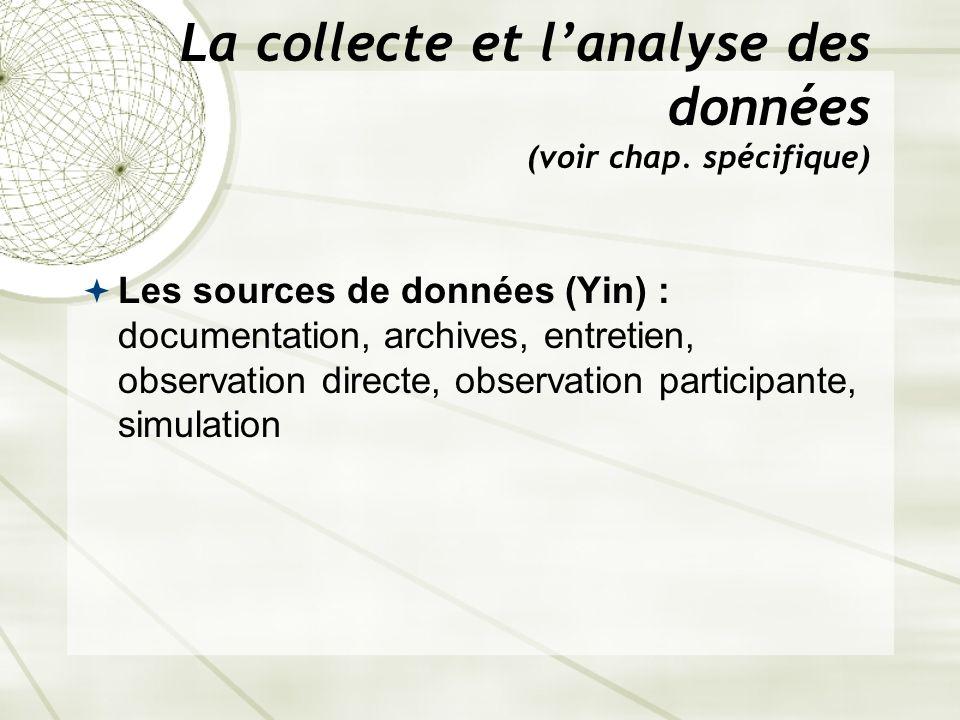 La collecte et l'analyse des données (voir chap. spécifique)