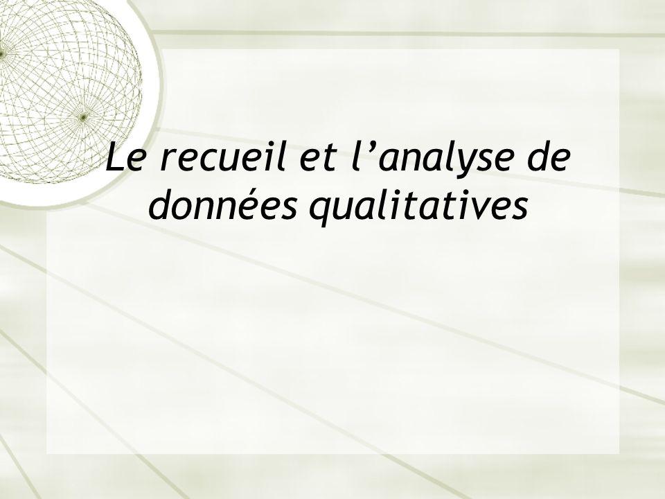 Le recueil et l'analyse de données qualitatives