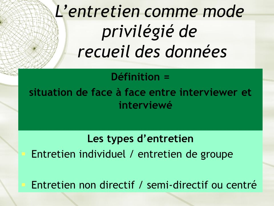 situation de face à face entre interviewer et interviewé