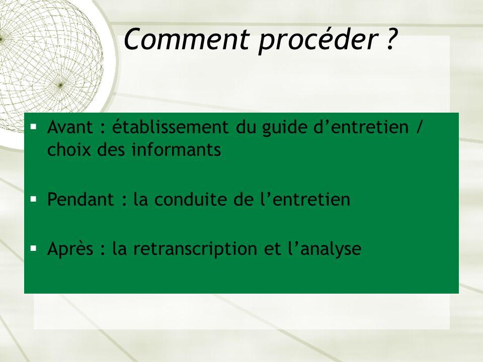 Comment procéder Avant : établissement du guide d'entretien / choix des informants. Pendant : la conduite de l'entretien.