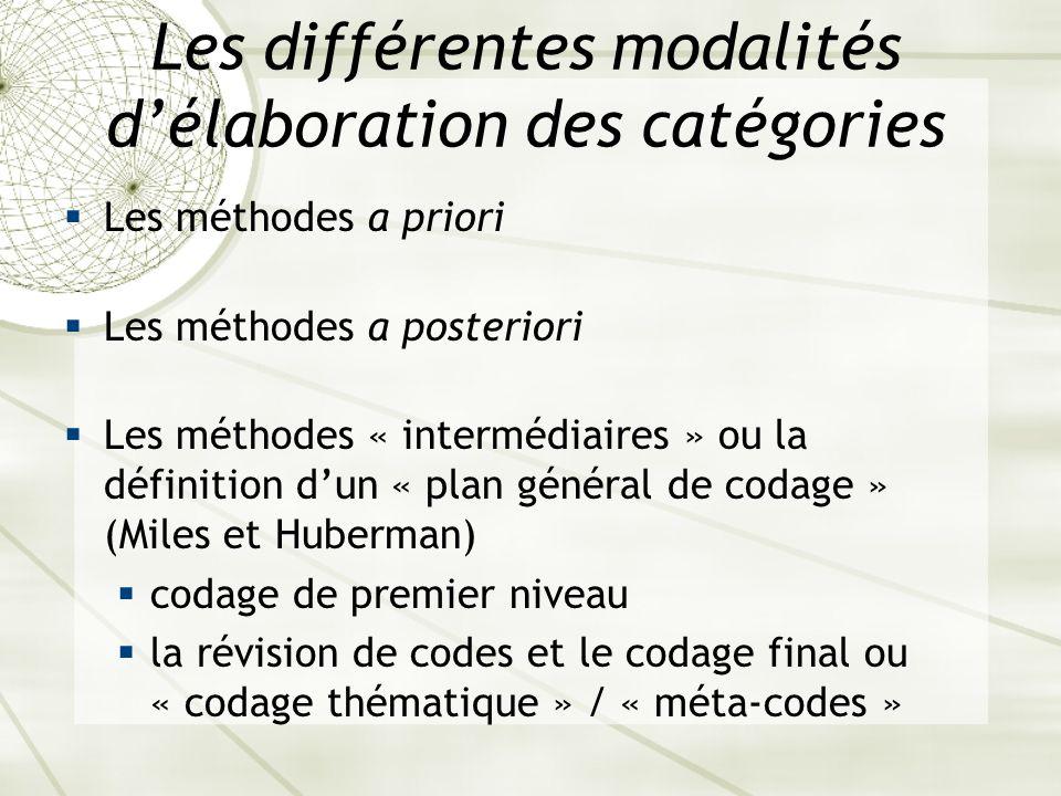 Les différentes modalités d'élaboration des catégories