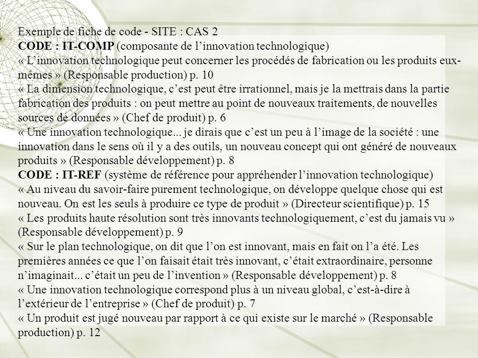 Exemple de fiche de code - SITE : CAS 2