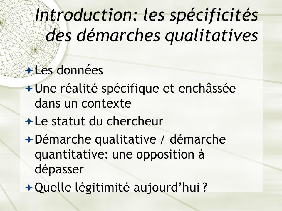Introduction: les spécificités des démarches qualitatives