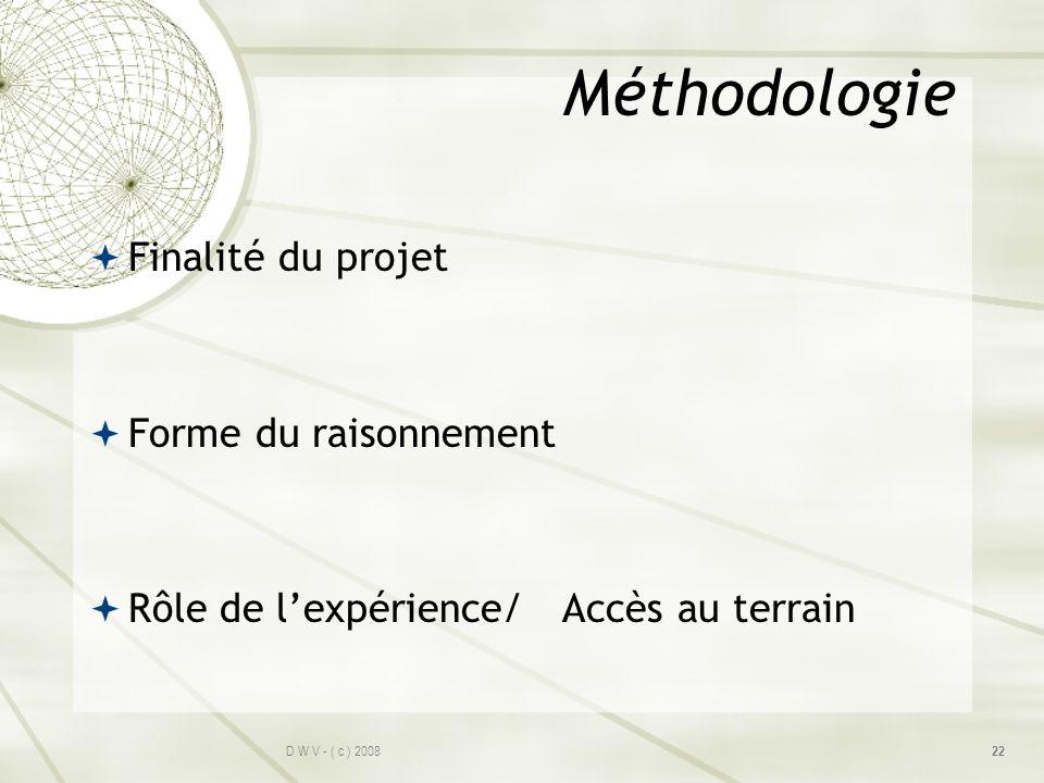 Méthodologie Finalité du projet Forme du raisonnement
