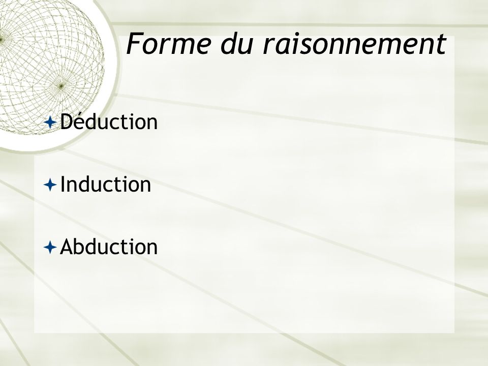 Forme du raisonnement Déduction Induction Abduction