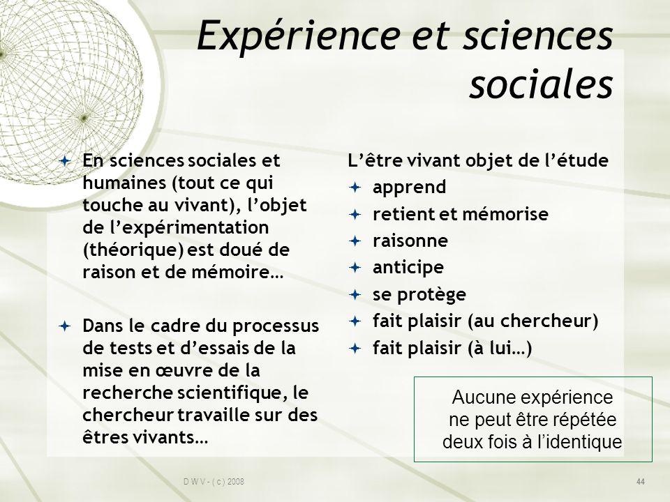 Expérience et sciences sociales