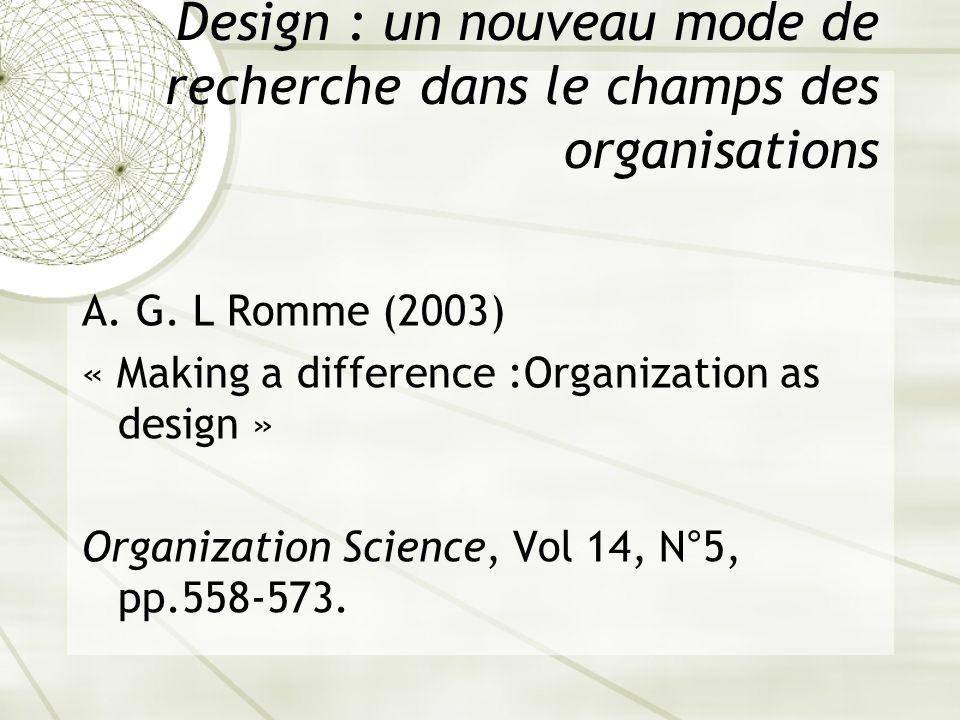 Design : un nouveau mode de recherche dans le champs des organisations